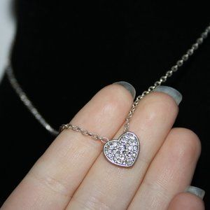 Pretty silver and rhinestone heart necklace adjust